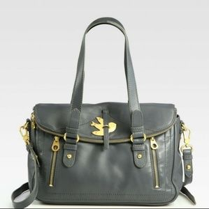 MARC JACOBS leather satchel gorgeous pewter & gold